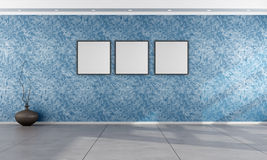 Living room with Venetian plaster wall. In blue - rendering stock illustration