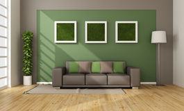 Living room with vertical grass in frame Royalty Free Stock Photo