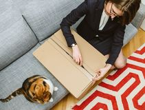 Woman unboxing unpacking cardboard box with her cat. Living room view from above of woman unpacking unboxing cardboard box box side being helped by her pet cat stock image