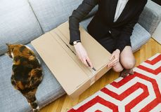 Woman unboxing unpacking cardboard box with her cat stock photography