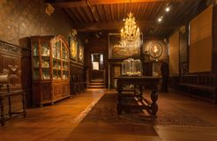 Living room with vintage chandelier and antique furniture in printing museum of Plantin-Moretus, UNESCO Heritage Site Stock Photos