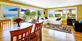 Living room with walkout deck and bay view. Tacoma real estate, Stock Photos