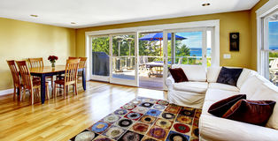 Living room with walkout deck and bay view. Tacoma real estate, Royalty Free Stock Photography