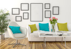 Living room - on the wall empty picture frames. 3D illustration royalty free stock photos
