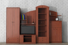 Living Room Wall Unit. 3d rendering Royalty Free Stock Photography