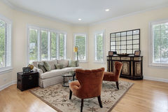 Living room with wall of windows Stock Image