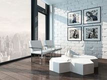 Living room with white brick wall and chairs Royalty Free Stock Photography