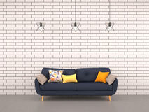 Living room white bricks wall with navy sofa Royalty Free Stock Image