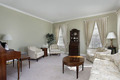 Living room with white carpeting. Living room in suburban home with white carpeting Stock Photo