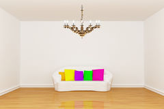 Living room with white couch and  chandelier Royalty Free Stock Image