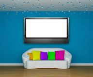 Living room with white couch with LCD tv Stock Photos