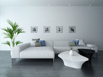Living room with white couch and portraits vector illustration