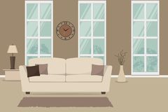 Living room with a white sofa and brown pillows. There is also a table with lamp and vase with branches on a window background in the image. There is a clock Stock Photography