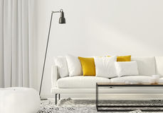 Living room with a white sofa Stock Images