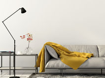 Living room with white sofa with yellow blanket Stock Photography