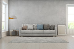 Living Room With Concrete Wall In Modern House, Loft Interior Design Stock Photo