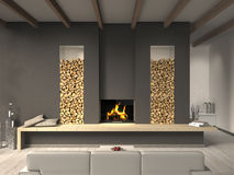 Free Living Room With Fireplace Royalty Free Stock Photos - 29889828