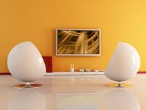 Living Room With Lcd Tv Stock Image