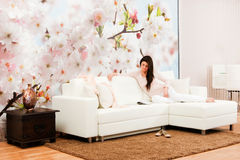 Living room with woman Stock Photo