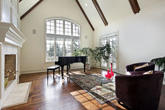 Living room with wood ceiling beams Stock Photos