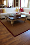 Living Room with Wood Floors. Living room with beautiful wood floors and accent rug Stock Image
