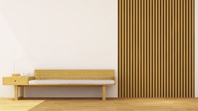 Living room wooden decoration - 3d rendering. For artwork and background Royalty Free Stock Photo