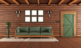 Living room of a wooden house Royalty Free Stock Photo