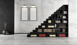 Living room with wooden staircase and bookcase Royalty Free Stock Photo