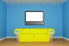 Living room with yellow couch and LCD tv Stock Photos