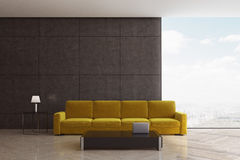 Living room with yellow sofa Stock Image