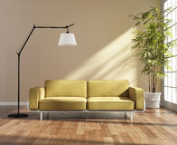 Living room with a yellow sofa by the window Stock Photos