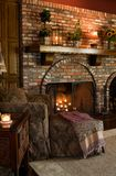 Living Rooms. Family Room seating area with fireplace and mantle stock photos