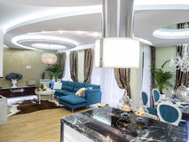 Living rooom from kitchen. Apartment  living room interior design, furniture and decoration Stock Image