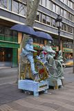 Living sculpture La Rambla in Barcelona. Spain Royalty Free Stock Photography