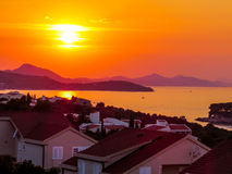 Living by the sea. Summer sunset over some nice apartments near the sea in Dubrovnik, Croatia Stock Photo