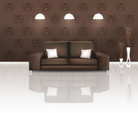 Living Space with Brown Sofa Royalty Free Stock Images