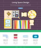 Living Space Design Web Page Vector Illustration. Living space design web page, representing sample of kitchen decor, icons of cooker and table, sinks and chairs Stock Photos