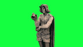 Living statue is afraid Chromakey stock video