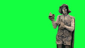 Living statue demonstrates an imaginary object Chromakey stock video