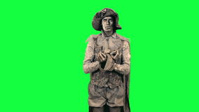 Living statue demonstrates an imaginary object Chromakey stock video footage