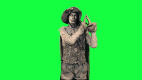 Living statue demonstrates an imaginary object Chromakey stock footage