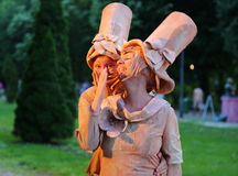 Living statue - french women happy. At international festival of living statues in Bucharest, Romania stock images