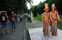 Living statue - french women photographed Royalty Free Stock Image