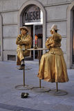 A living statue in Krakow stock image