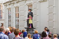 Living Statue Reverend Jansplein in Arnhem. Arnhem, Netherlands - September 28, 2014: Living Statue Reverend Jansplein in Arnhem Stock Photo