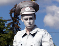 Living statue of a russian policeman. MOSCOW, RUSSIA - SEPT 7, 2014: Living statue of a russian policeman on a holiday devoted to the City Day of Moscow at All royalty free stock image