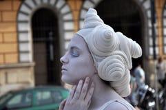Living statue, street performer Stock Photos