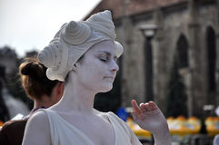 Living statue, street performer Royalty Free Stock Photos