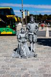 Living statue - two silver persons in Vienna royalty free stock photo