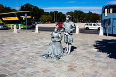 Living statue - two silver persons in Vienna royalty free stock image